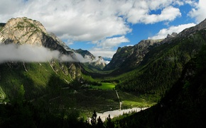 Picture forest, mountains, valley, house