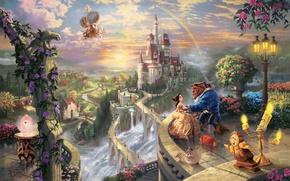 Wallpaper trees, love, sunset, flowers, bridge, castle, watch, waterfall, rainbow, candles, art, pair, lantern, rainbow, balcony, ...