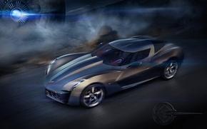 Wallpaper Chevrolet Corvette Stingray, the concept, speed