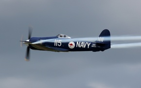 """Picture the sky, fighter-bomber, deck, WW2, The Royal Australian Navy, Hawker """"Sea Fury"""" FB.Mk.11"""