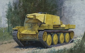 Picture road, forest, trees, art, chassis, weapons, guns, new, gun, as, which, adopted, type, 75 mm, …