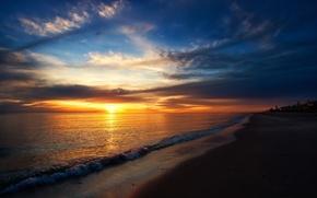Picture sea, beach, the sun, sunset, horizon