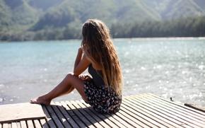 Picture summer, girl, lake, hair, sitting