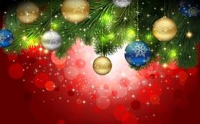 Picture balls, decoration, needles, glare, holiday, balls, pattern, toys, Shine, Christmas, branch, snowflake