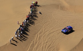 Wallpaper Touareg, The view from the top, Machine, Sand, Desert, Volkswagen, Fans, Auto, Day, People, Blue, ...
