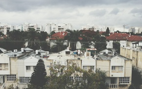 Picture trees, winter, clouds, buildings, Israel, Rehovot, boilers