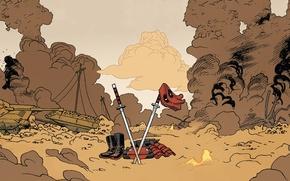 Picture red, Deadpool, Deadpool, katana, comics, MARVEL, Wade Wilson