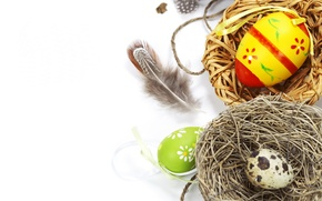 Wallpaper photo, Feathers, Easter, Eggs, Holiday