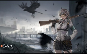 Picture girl, birds, bridge, the city, smile, weapons, anime, art, san m