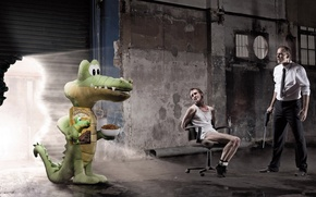 Picture crocodile, cookies, composition, the bandits
