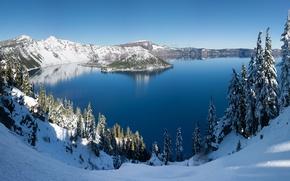 Picture winter, panorama, USA, USA, Oregon, panorama, winter, Crater Lake, Crater Lake, Oregon