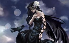 Picture girl, fantasy, fairy, Raven