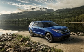 Picture mountains, lake, stones, Ford, Sport, Explorer, 2015, XLT