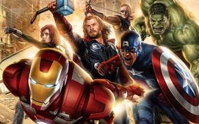 Wallpaper Iron man, captain America, Avengers, black widow, Hulk, The Avengers, the film, figure, Iron man, ...