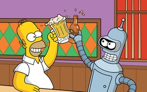 Picture movie, the film, movies, beer, bar, the simpsons, futurama, Bender, Homer