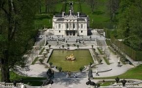 Wallpaper Park, Germany, Germany, trees, gold, castle, Linderhof Castle, sculpture, locks, castle, Bayern, fountain