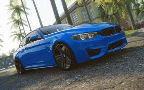 Picture road, blue, house, palm trees, BMW, clear, The Crew, Wild Run