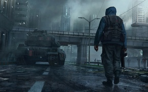 Picture the city, fiction, tank, megapolis, CG wallpapers, Dennis Chan