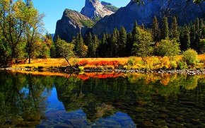 Picture autumn, forest, trees, mountains, lake, stones, CA, USA, Yosemite National Park