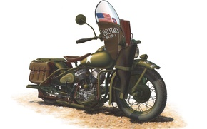 Picture color, engine, model, art, soldiers, khaki, motorcycle, USSR, American, was, Harley-Davidson, for, Tom, lend-lease, WW2., …