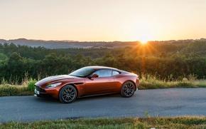 Wallpaper road, machine, the sun, Aston Martin, Aston Martin, supercar, handsome, DB11