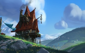 Picture road, mountains, anime, art, house