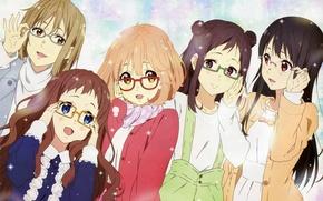 Picture glasses, Anime, Kyoukai no Kanata, Sakura Inami, Mitsuki Nase, Shizuku Ninomiya, Mirai Kuriyama, Ai Shindou