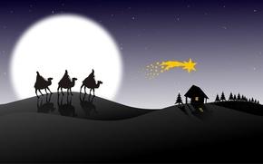 Wallpaper holiday, the moon, graphics, Christmas, stars, christmas, caravan