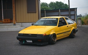 Picture drift, japan, toyota, jdm, tuning, ae86, front, race, face, stance, yelow