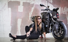 Picture headlight, F800 R, bike, Predator, reflection, background, BMW, tuning, Custom Bike, Vilner, motorcycle, beauty, girl, ...