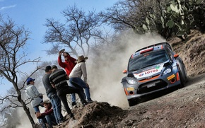 Picture Ford, Dust, WRC, Rally, The audience, Fiesta, Kubica