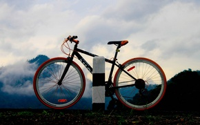 Picture ROAD, FOREST, NATURE, MOUNTAINS, The SKY, MOVEMENT, CLOUDS, BIKE, WHEEL, SILHOUETTE, SPOKES, FRAME, TRIP, DISTANCE, ...