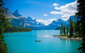 Picture forest, trees, landscape, mountains, lake, boat, Canada