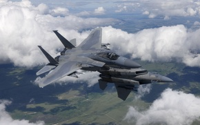 "Picture flight, fighters, pair, Eagle, F-15, ""Eagle"""
