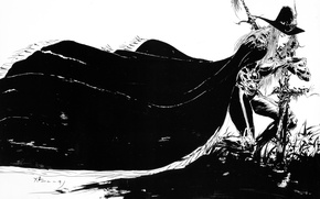 Picture graphics, cross, sword, hat, black and white, cloak, hunter, art, grave, Yoshi Want Amano, Vampire …