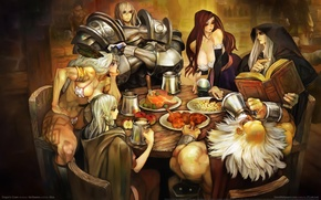 Picture elves, dwarves, warriors, feast, game wallpapers, mages, meeting, Dragon's crown