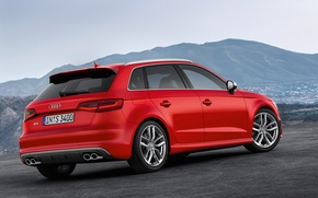 Picture mountains, red, Audi, hatchback, 5-doors, Hot hatch