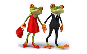 Picture frogs, frog, couple, funny, elegant, female, male