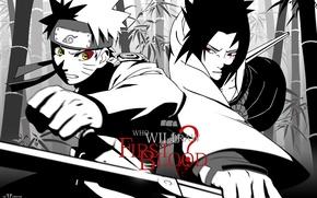 Wallpaper labels, naruto, naruto, katana, kunai, Sasuke