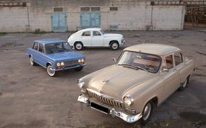 Picture machine, retro, Wallpaper, USSR, gas, cars, VAZ