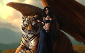 Picture Girl, Tiger, Wings, Fantasy, Brown hair, Animals, Magic