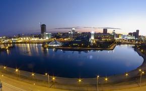 Picture lights, river, Avenue, the evening, Belarus, Minsk