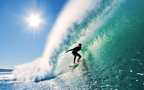 Wallpaper the sky, the sun, wave, surfing