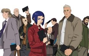 Picture white background, heroes, Bateau, characters, Ghost in the Shell, The Fireworks Kusanagi, Motoko Kusanagi, Ishikawa, …
