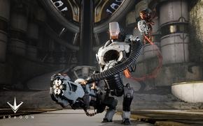 Picture gun, logo, game, robot, weapon, Paragon, Grim Exe