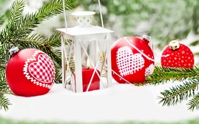 Picture winter, snow, balls, New Year, Christmas, Christmas, decoration, Merry