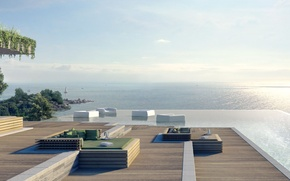 Picture the ocean, Villa, view, pool