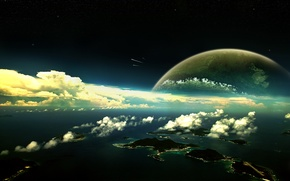 Wallpaper Islands, The moon, meteors, stratosphere