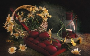 Picture flowers, holiday, basket, chamomile, candle, eggs, Easter, lamp, savok