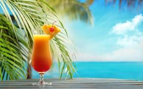 Picture sea, beach, cocktail, summer, fruit, beach, fresh, sea, fruit, paradise, drink, cocktail, tropical